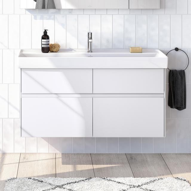 Villeroy & Boch Collaro Waschtischunterschrank mit 4 Auszügen Front weiß matt / Korpus weiß matt, Griffmulde weiß matt