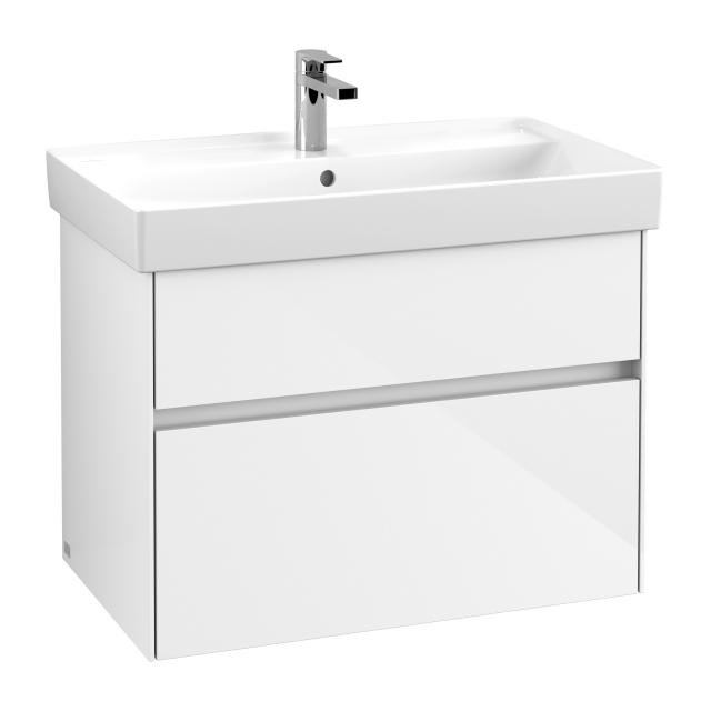 Villeroy & Boch Collaro Waschtischunterschrank mit 2 Auszügen Front glossy white / Korpus glossy white, Griffmulde weiß matt