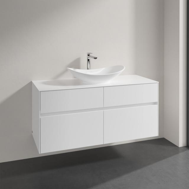 Villeroy & Boch Embrace Waschtischunterschrank mit 4 Auszügen für 1 Aufsatzwaschtisch Front glossy white / Korpus glossy white, Abdeckplatte glossy white, Griffmulde weiß matt