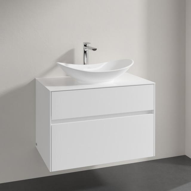 Villeroy & Boch Embrace Waschtischunterschrank mit 2 Auszügen für 1 Aufsatzwaschtisch Front glossy white / Korpus glossy white, Abdeckplatte glossy white, Griffmulde weiß matt