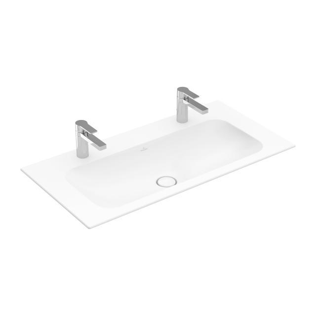 Villeroy & Boch Finion Doppel-Möbelwaschtisch stone white mit CeramicPlus, mit 2 Hahnlöchern, ohne Überlauf