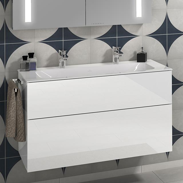 Villeroy & Boch Finion Doppel-Möbelwaschtisch weiß mit CeramicPlus, mit 2 Hahnlöchern, ohne Überlauf