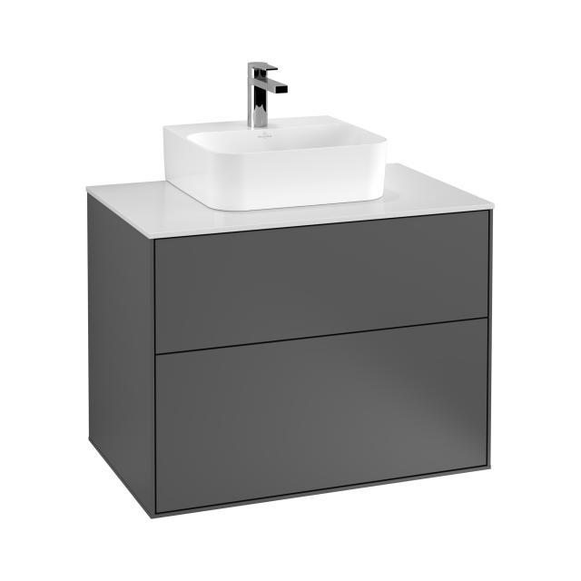 Villeroy & Boch Finion Handwaschbeckenunterschrank mit 2 Auszügen Front anthracite matt / Korpus anthracite matt, Abdeckplatte white matt