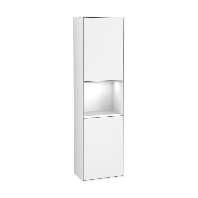 Villeroy & Boch Finion LED-Hochschrank mit 2 Türen, Regalelement mittig Front white matt / Korpus white matt