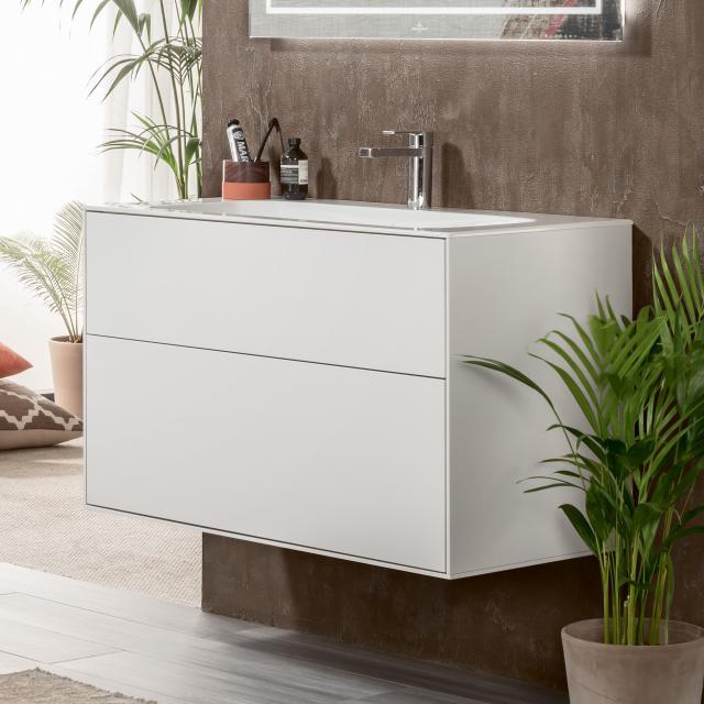 Villeroy & Boch Finion LED-Waschtischunterschrank mit 2 Auszügen Front white matt / Korpus white matt
