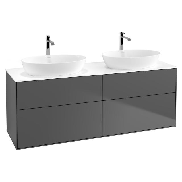 Villeroy & Boch Finion LED-Waschtischunterschrank für 2 Aufsatzwaschtische mit 4 Auszügen Front anthracite matt / Korpus anthracite matt, Abdeckplatte white matt