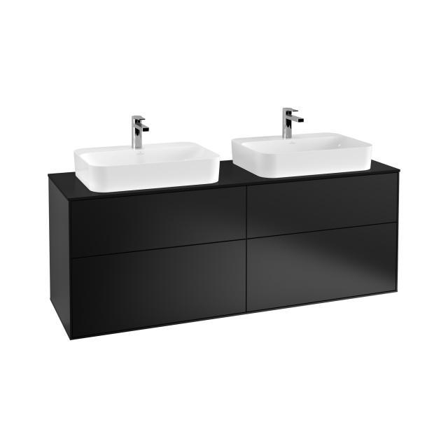 Villeroy & Boch Finion LED-Waschtischunterschrank für 2 Aufsatzwaschtische mit 4 Auszügen Front black matt / Korpus black matt, Abdeckplatte black matt