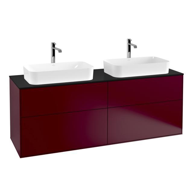 Villeroy & Boch Finion LED-Waschtischunterschrank für 2 Aufsatzwaschtische mit 4 Auszügen Front peony / Korpus peony, Abdeckplatte black matt