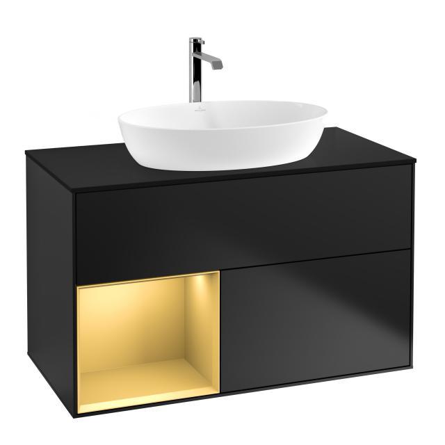 Villeroy & Boch Finion LED-Waschtischunterschrank für Aufsatzwaschtisch mit 2 Auszügen, Regalelement links Front black matt / Korpus black matt/gold matt, Abdeckplatte black matt