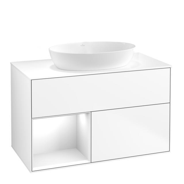Villeroy & Boch Finion LED-Waschtischunterschrank für Aufsatzwaschtisch mit 2 Auszügen, Regalelement links Front white matt / Korpus white matt, Abdeckplatte white matt