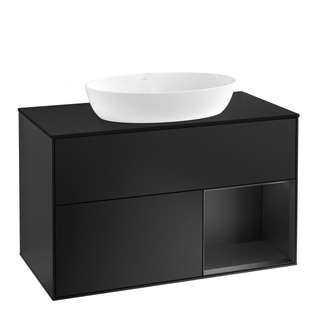 Villeroy & Boch Finion LED-Waschtischunterschrank für Aufsatzwaschtisch mit 2 Auszügen, Regalelement rechts Front black matt / Korpus black matt, Abdeckplatte black matt