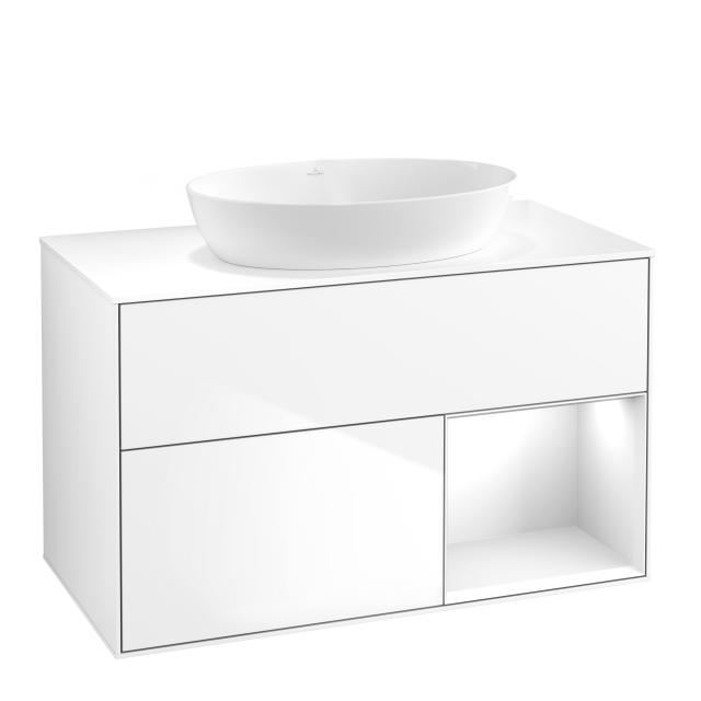 Villeroy & Boch Finion LED-Waschtischunterschrank für Aufsatzwaschtisch mit 2 Auszügen, Regalelement rechts Front glossy white / Korpus glossy white, Abdeckplatte white matt