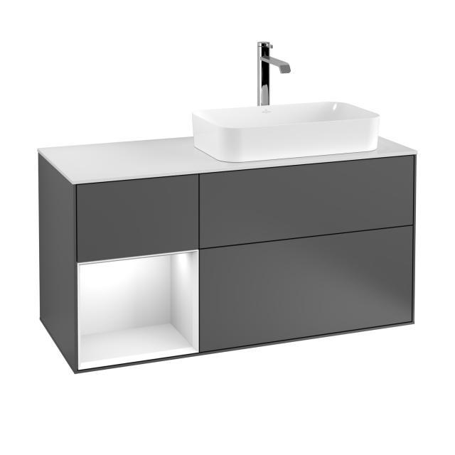 Villeroy & Boch Finion LED-Waschtischunterschrank für Aufsatzwaschtisch mit 3 Auszügen, Regalelement links Front anthracite matt / Korpus anthracite matt/white matt, Abdeckplatte white matt