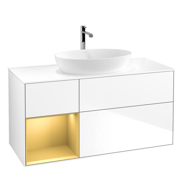 Villeroy & Boch Finion LED-Waschtischunterschrank für Aufsatzwaschtisch mit 3 Auszügen, Regalelement links Front glossy white / Korpus glossy white/gold matt, Abdeckplatte white matt