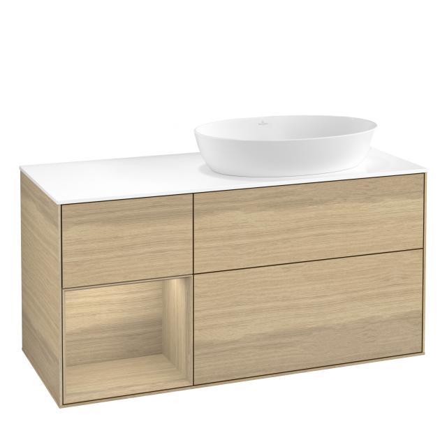 Villeroy & Boch Finion LED-Waschtischunterschrank für Aufsatzwaschtisch mit 3 Auszügen, Regalelement links Front oak veneer / Korpus oak veneer, Abdeckplatte white matt