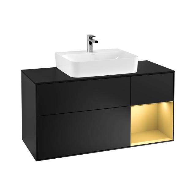 Villeroy & Boch Finion LED-Waschtischunterschrank für Aufsatzwaschtisch mit 3 Auszügen, Regalelement rechts Front black matt / Korpus black matt/gold matt, Abdeckplatte black matt