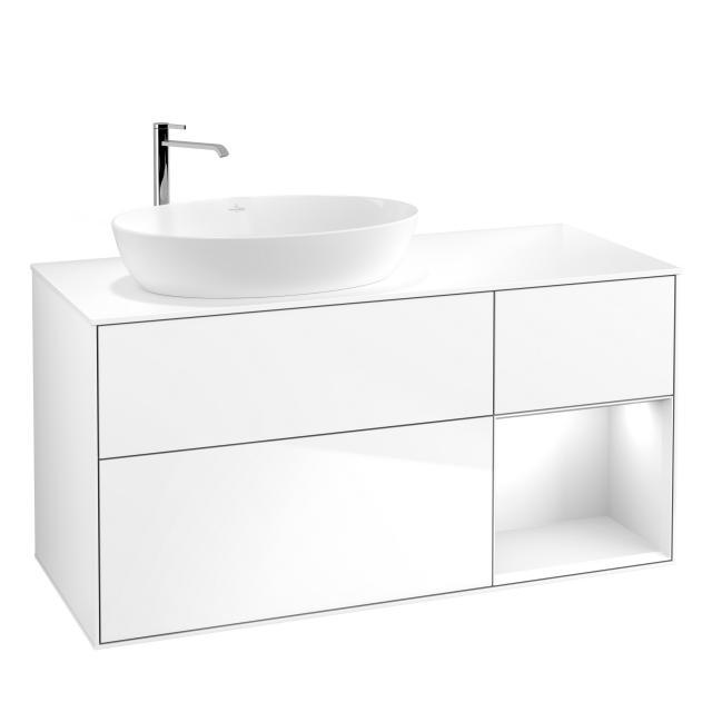 Villeroy & Boch Finion LED-Waschtischunterschrank für Aufsatzwaschtisch mit 3 Auszügen, Regalelement rechts Front glossy white / Korpus glossy white, Abdeckplatte white matt