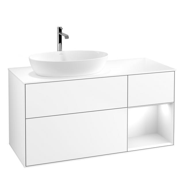 Villeroy & Boch Finion LED-Waschtischunterschrank für Aufsatzwaschtisch mit 3 Auszügen, Regalelement rechts Front white matt / Korpus white matt, Abdeckplatte white matt