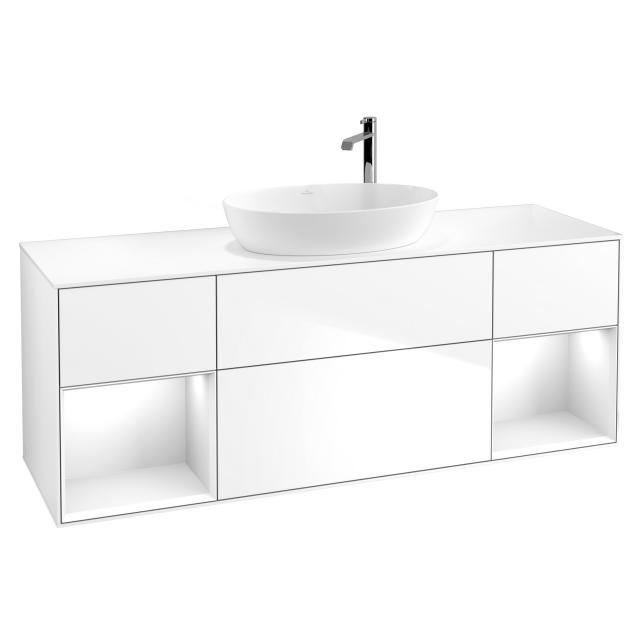 Villeroy & Boch Finion LED-Waschtischunterschrank für Aufsatzwaschtisch mit 4 Auszügen, Regalelement links & rechts Front glossy white / Korpus glossy white, Abdeckplatte white matt