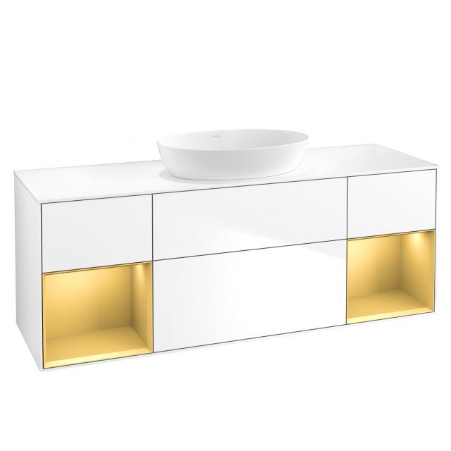 Villeroy & Boch Finion LED-Waschtischunterschrank für Aufsatzwaschtisch mit 4 Auszügen, Regalelement links & rechts Front glossy white / Korpus glossy white/gold matt, Abdeckplatte white matt
