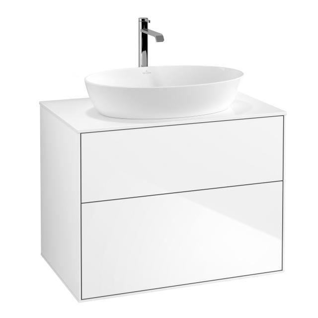 Villeroy & Boch Finion LED-Waschtischunterschrank für Aufsatzwaschtisch mit 2 Auszügen Front glossy white / Korpus glossy white, Abdeckplatte white matt