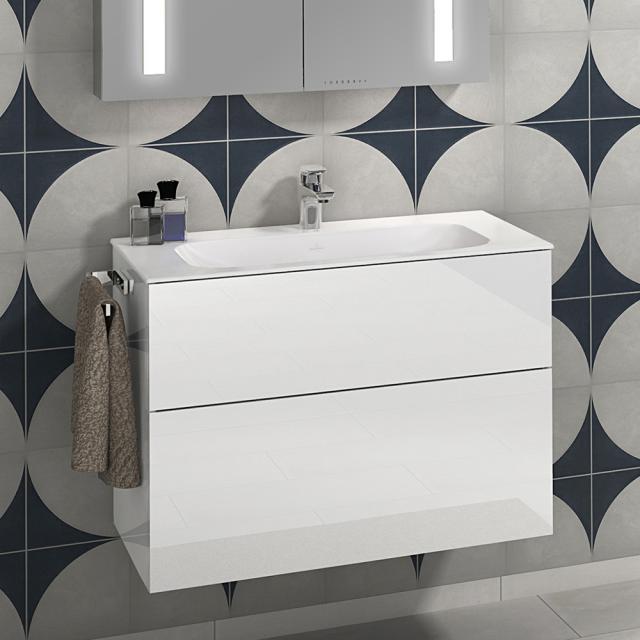 Villeroy & Boch Finion Schrankwaschtisch stone white mit CeramicPlus, mit 1 Hahnloch, ohne Überlauf