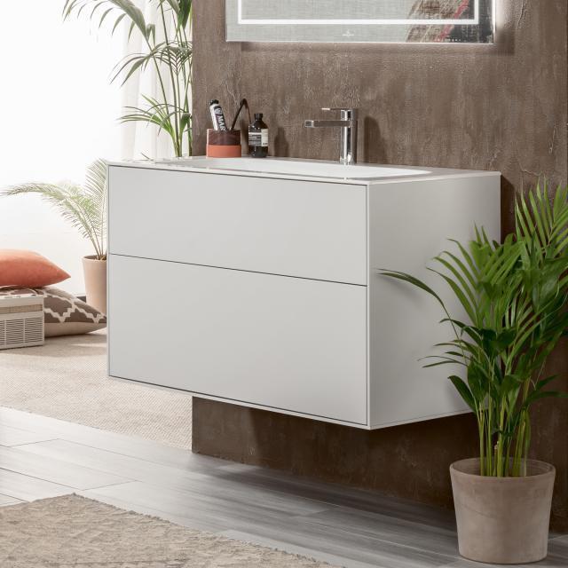 Villeroy & Boch Finion Waschtisch mit LED-Waschtischunterschrank mit 2 Auszügen weiß, mit CeramicPlus, mit 1 Hahnloch, ohne Überlauf