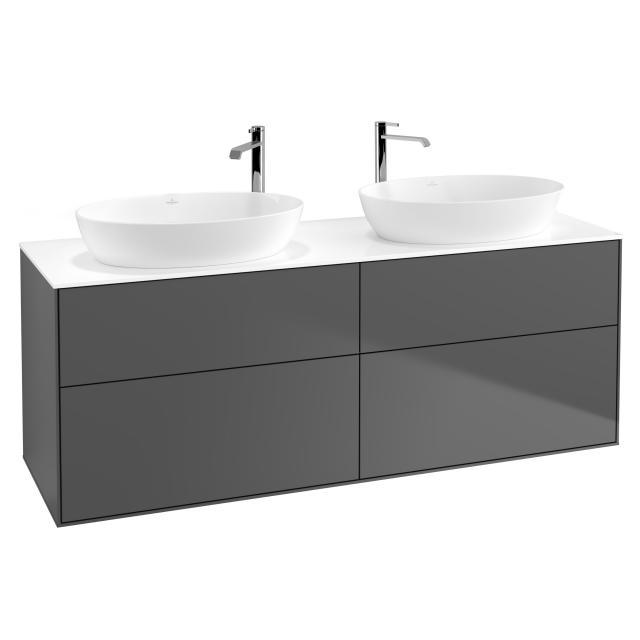 Villeroy & Boch Finion Waschtischunterschrank für 2 Aufsatzwaschtische mit 4 Auszügen Front anthracite matt / Korpus anthracite matt, Abdeckplatte white matt