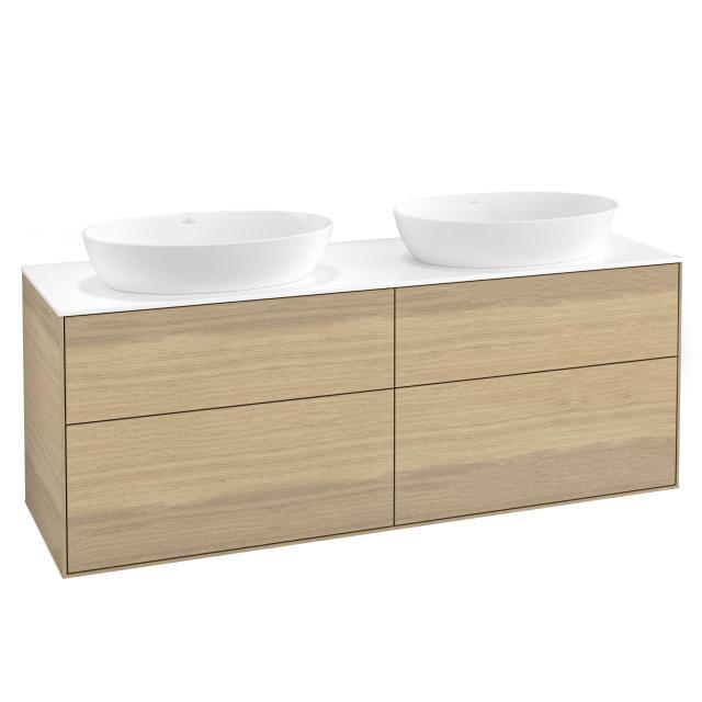 Villeroy & Boch Finion Waschtischunterschrank für 2 Aufsatzwaschtische mit 4 Auszügen Front oak veneer / Korpus oak veneer, Abdeckplatte white matt