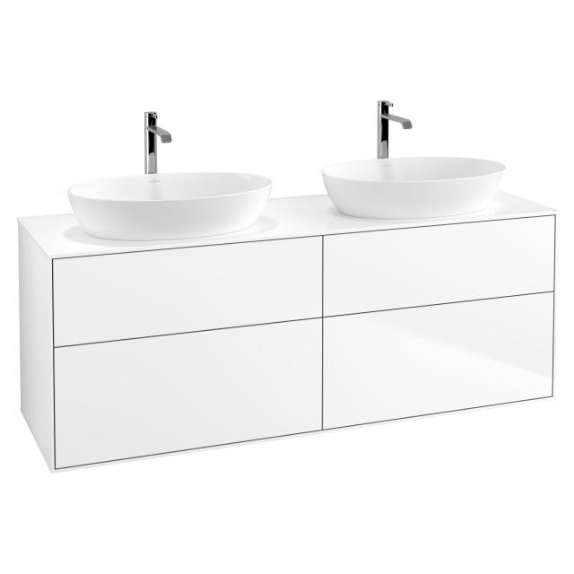 Villeroy & Boch Finion Waschtischunterschrank für 2 Aufsatzwaschtische mit 4 Auszügen Front white matt / Korpus white matt, Abdeckplatte white matt