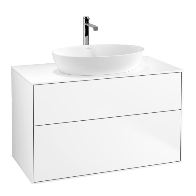 Villeroy & Boch Finion Waschtischunterschrank für Aufsatzwaschtisch mit 2 Auszügen Front white matt / Korpus white matt, Abdeckplatte white matt