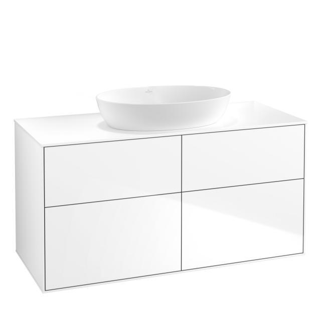 Villeroy & Boch Finion Waschtischunterschrank für Aufsatzwaschtisch mit 4 Auszügen Front glossy white / Korpus glossy white, Abdeckplatte white matt