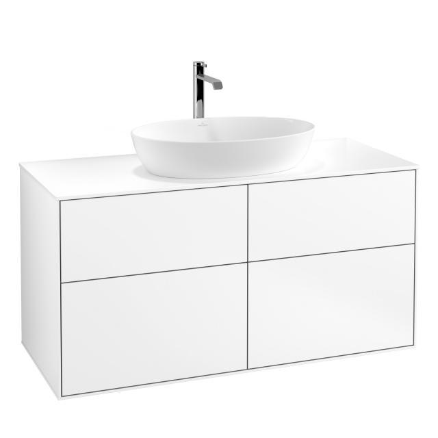 Villeroy & Boch Finion Waschtischunterschrank für Aufsatzwaschtisch mit 4 Auszügen Front white matt / Korpus white matt, Abdeckplatte white matt