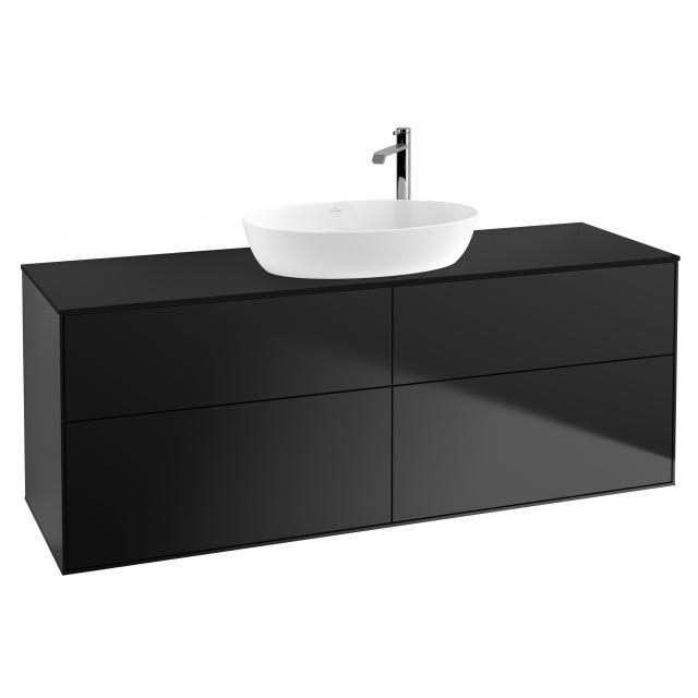 Villeroy & Boch Finion Waschtischunterschrank für Aufsatzwaschtisch mit 4 Auszügen Front black matt / Korpus black matt, Abdeckplatte black matt