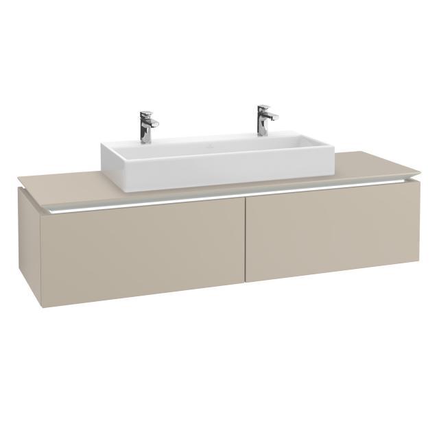 Villeroy & Boch Legato LED-Waschtischunterschrank mit 2 Auszügen Front soft grey / Korpus soft grey