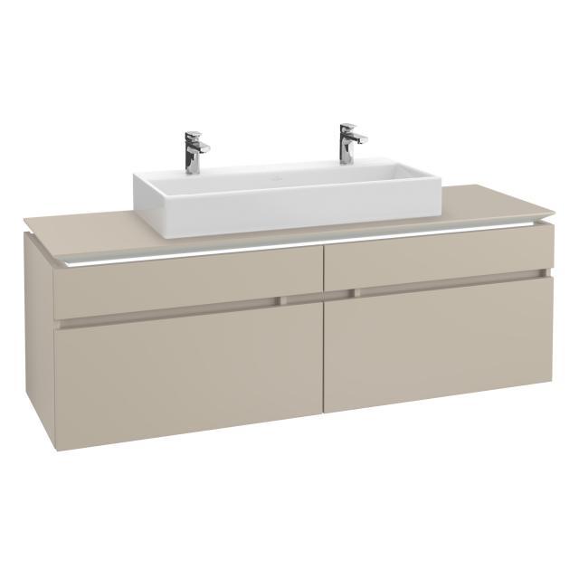 Villeroy & Boch Legato LED-Waschtischunterschrank für Doppelwaschtisch mit 4 Auszügen Front soft grey / Korpus soft grey