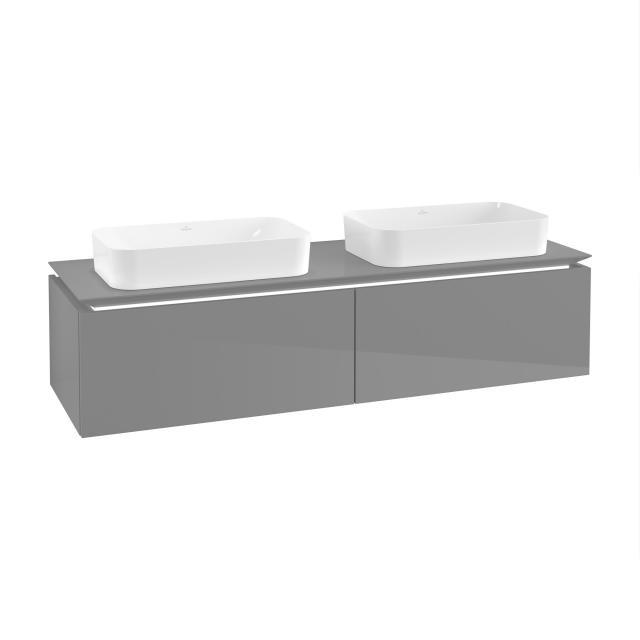 Villeroy & Boch Legato LED-Waschtischunterschrank für 2 Aufsatzwaschtische mit 2 Auszügen Front glossy grey / Korpus glossy grey