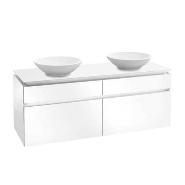 Villeroy & Boch Legato LED-Waschtischunterschrank für 2 Aufsatzwaschtische mit 4 Auszügen Front glossy white / Korpus glossy white