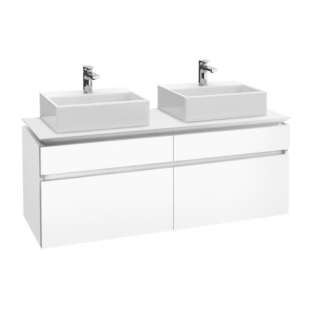 Villeroy & Boch Legato LED-Waschtischunterschrank für 2 Aufsatzwaschtische mit 4 Auszügen Front weiß matt / Korpus weiß matt