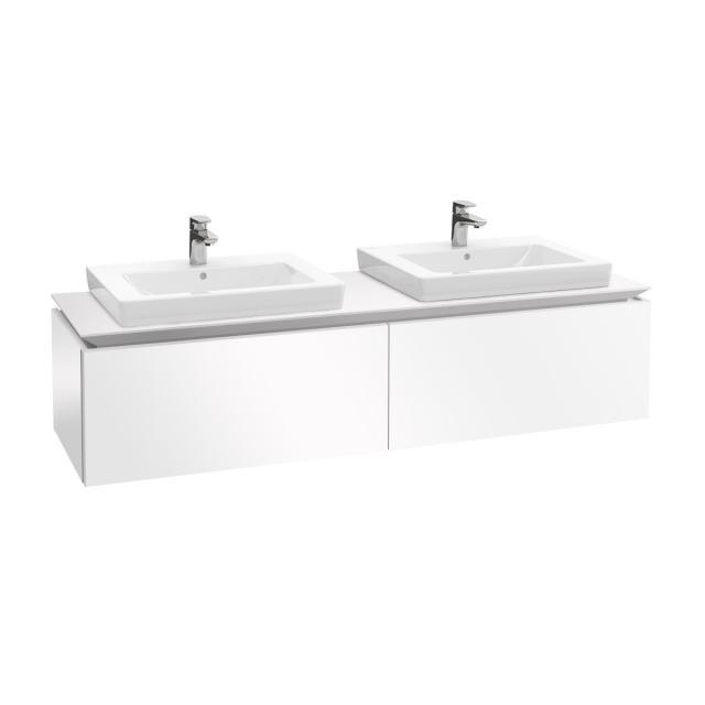 Villeroy & Boch Legato LED-Waschtischunterschrank für 2 Einbauwaschtische mit 2 Auszügen Front glossy white / Korpus glossy white