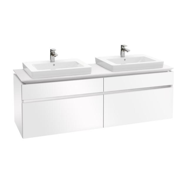 Villeroy & Boch Legato LED-Waschtischunterschrank für 2 Einbauwaschtische mit 4 Auszügen Front glossy white / Korpus glossy white