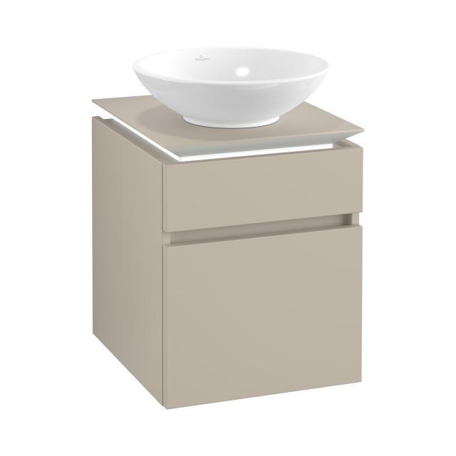 Villeroy & Boch Legato LED-Waschtischunterschrank für Aufsatzwaschtisch mit 2 Auszügen Front soft grey / Korpus soft grey