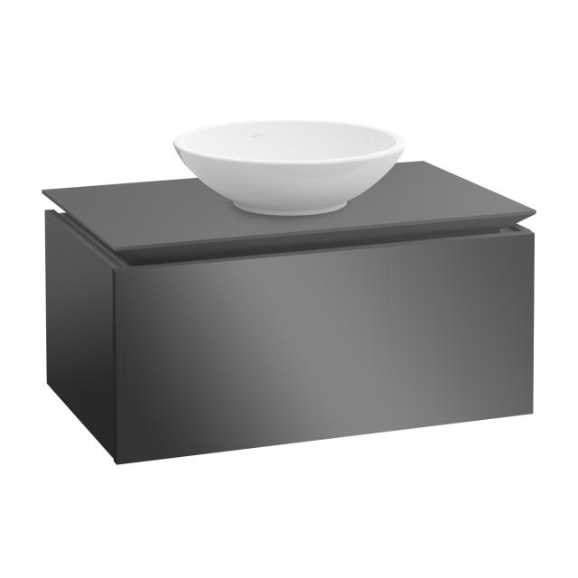 Villeroy & Boch Legato LED-Waschtischunterschrank für Aufsatzwaschtisch mit 1 Auszug Front glossy grey / Korpus glossy grey