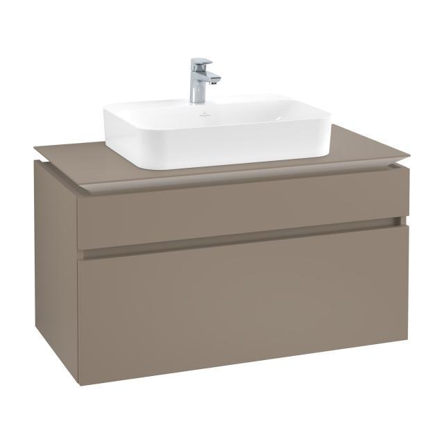 Villeroy & Boch Legato Waschtischunterschrank für Aufsatzwaschtisch mit 2 Auszügen Front truffle grey / Korpus truffle grey