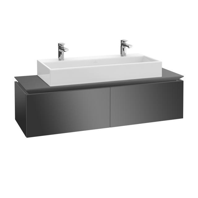 Villeroy & Boch Legato Waschtischunterschrank mit 2 Auszügen Front glossy grey / Korpus glossy grey