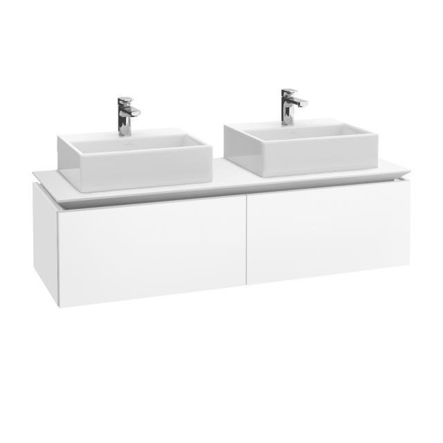 Villeroy & Boch Legato Waschtischunterschrank für 2 Aufsatzwaschtische mit 2 Auszügen Front weiß matt / Korpus weiß matt