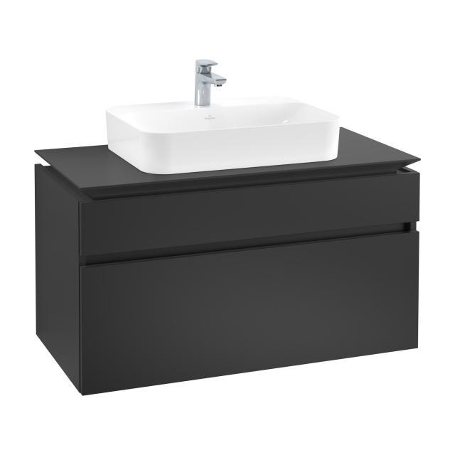 Villeroy & Boch Legato Waschtischunterschrank für Aufsatzwaschtisch mit 2 Auszügen Front black matt / Korpus black matt