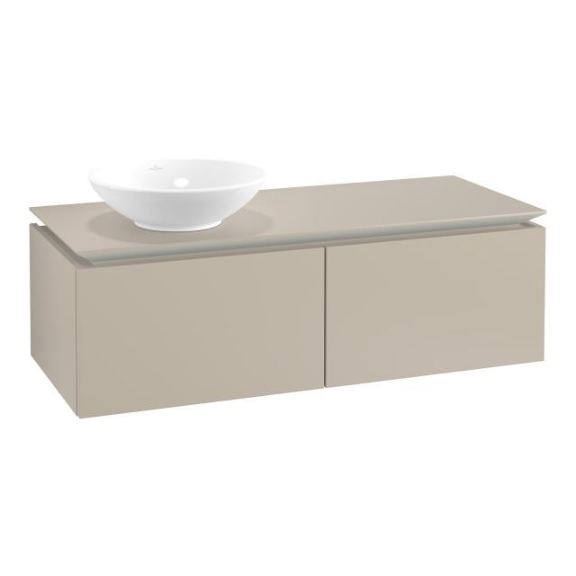 Villeroy & Boch Legato Waschtischunterschrank für Aufsatzwaschtisch mit 2 Auszügen Front soft grey / Korpus soft grey