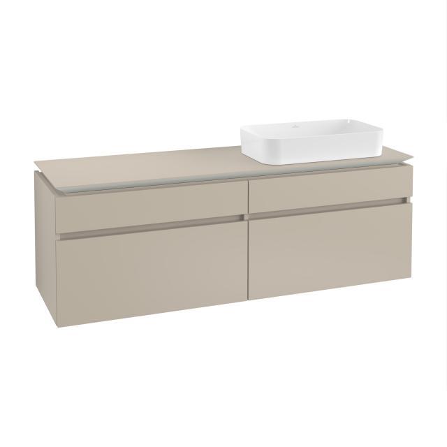 Villeroy & Boch Legato Waschtischunterschrank für Aufsatzwaschtisch mit 4 Auszügen Front soft grey / Korpus soft grey