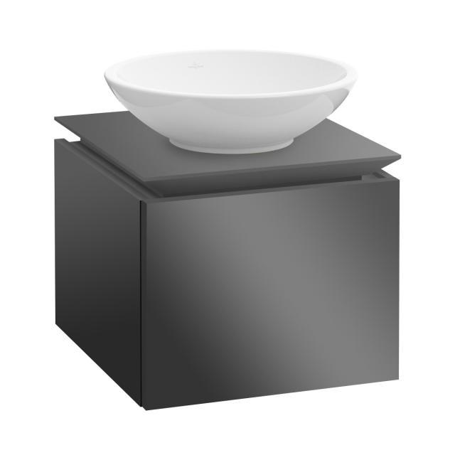 Villeroy & Boch Legato Waschtischunterschrank für Aufsatzwaschtisch mit 1 Auszug Front glossy grey / Korpus glossy grey